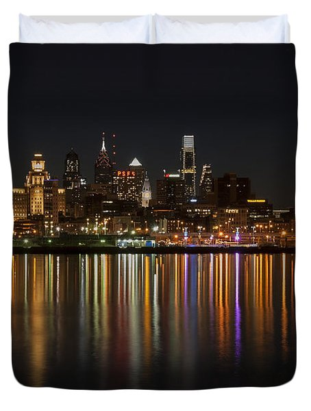 Philly Night Duvet Cover by Jennifer Ancker
