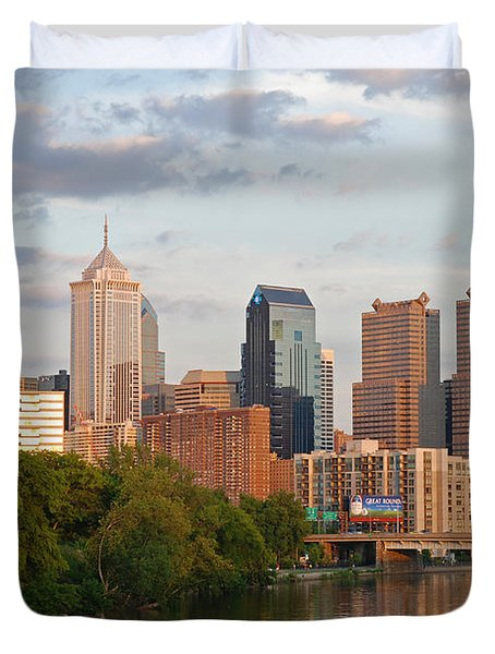 Philly summer skyline Duvet Cover by Jennifer Lyon