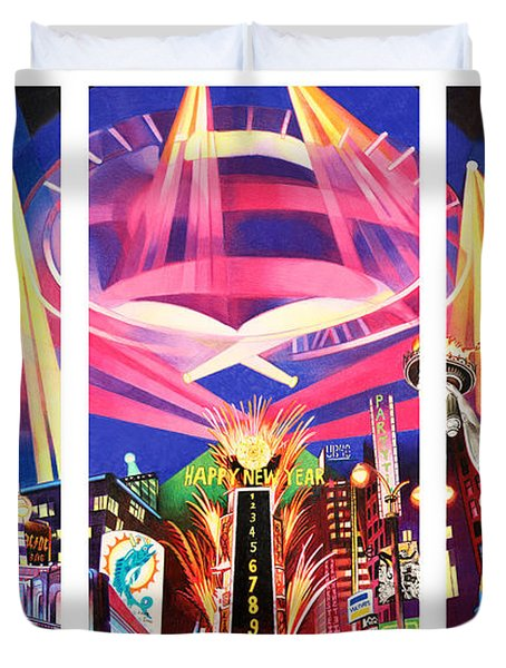 Phish New York For New Years Triptych Duvet Cover by Joshua Morton