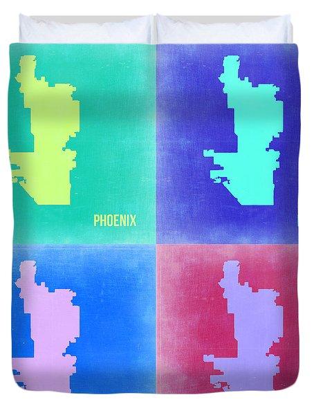 Phoenix Pop Art Map 1 Duvet Cover by Naxart Studio