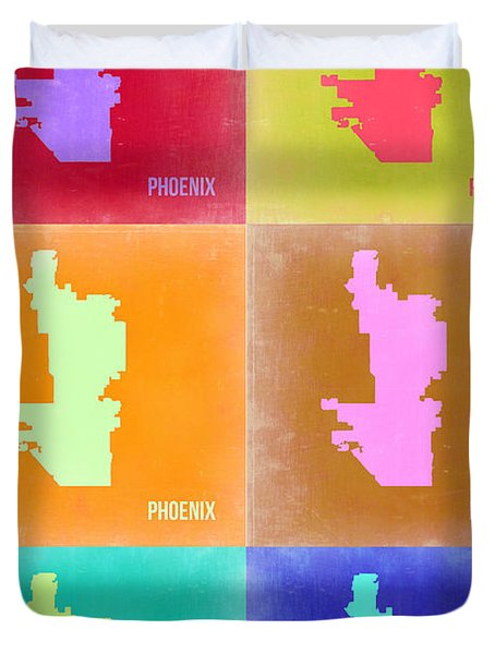 Phoenix Pop Art Map 3 Duvet Cover by Naxart Studio