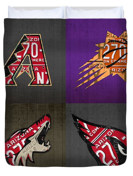 Phoenix Sports Fan Recycled Vintage Arizona License Plate Art Diamondbacks Suns Coyotes Cardinals Duvet Cover by Design Turnpike