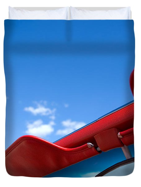 Photo Of Convertible Car And Blue Sky Duvet Cover by Paul Velgos