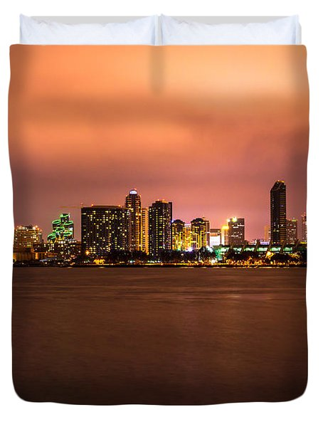Photo Of San Diego At Night Duvet Cover by Paul Velgos
