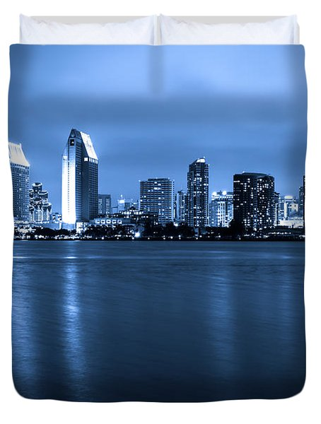Photo of San Diego at Night Skyline Buildings Duvet Cover by Paul Velgos