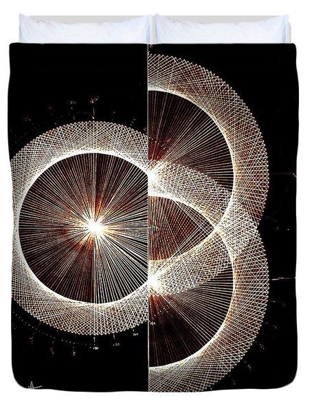 Photon Double Slit Test Hand Drawn Duvet Cover by Jason Padgett