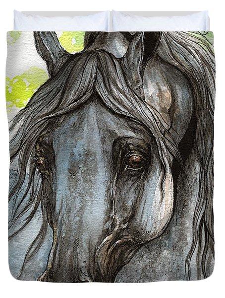 Piaff Polish Arabian Horse Watercolor  Painting 1 Duvet Cover by Angel  Tarantella