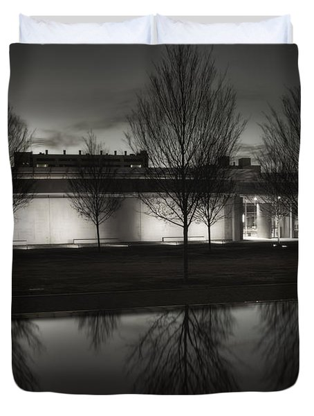 Piano Pavilion Bw Reflections Duvet Cover by Joan Carroll