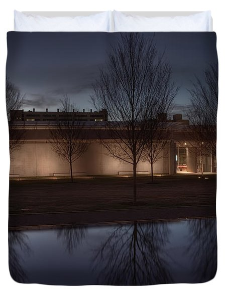 Piano Pavilion Night Reflections Duvet Cover by Joan Carroll