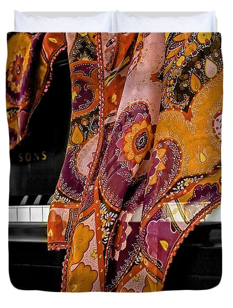 Piano With Scarf Duvet Cover by Madeline Ellis