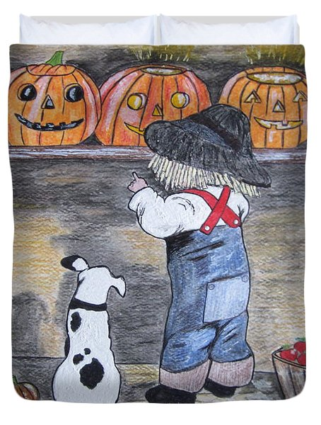 Picking Out The Halloween Pumpkin Duvet Cover by Kathy Marrs Chandler