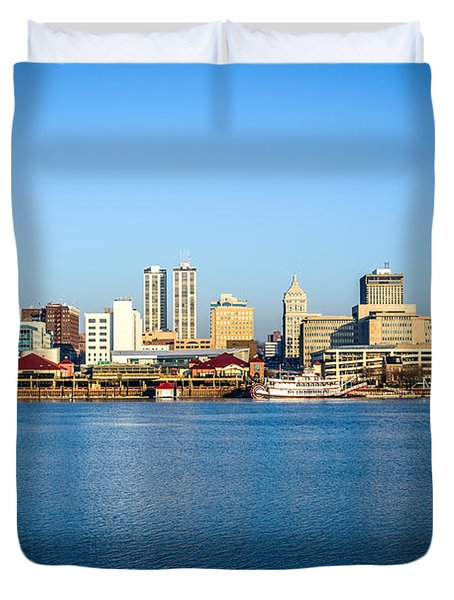 Picture Of Peoria Illinois Skyline Duvet Cover by Paul Velgos