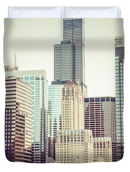 Picture Of Vintage Chicago With Sears Willis Tower Duvet Cover by Paul Velgos