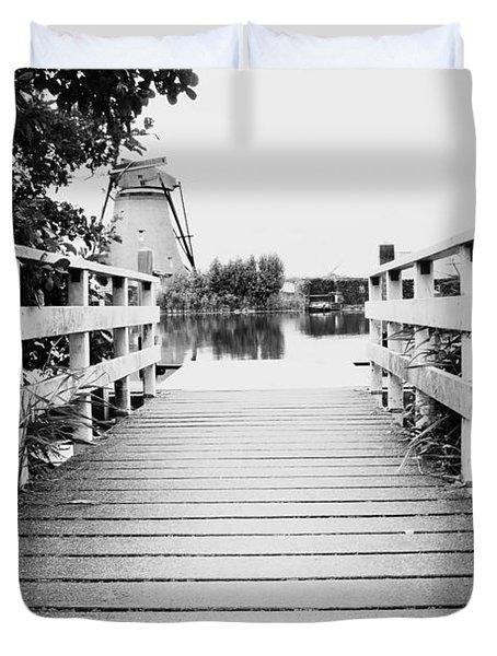 Pier At Kinderdjik Duvet Cover by Ivy Ho