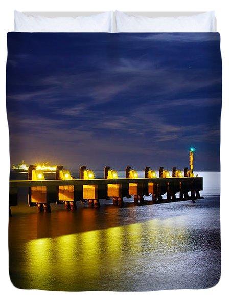 Pier At Night Duvet Cover by Carlos Caetano