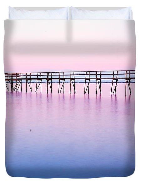 Pier On Lake Winnipeg Duvet Cover by Ken Gillespie