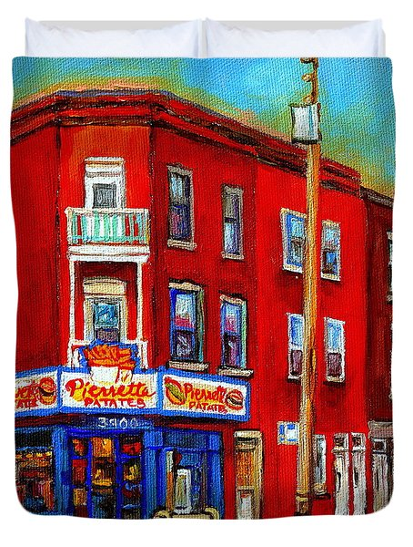 Pierrette Patates 3900 Verdun Restaurant Montreal Streets And Shops City Of Verdun Art Work Scenes Duvet Cover by Carole Spandau