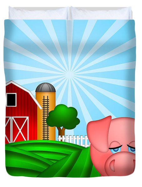 Pig On Green Pasture With Red Barn With Grain Silo  Duvet Cover by JPLDesigns