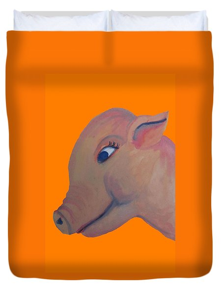 Pig On Orange Duvet Cover by Cherie Sexsmith