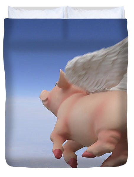 Pigs Fly 2 Duvet Cover by Mike McGlothlen