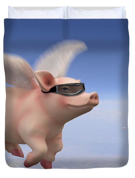 Pigs Fly Duvet Cover by Mike McGlothlen