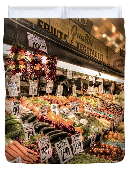 Pike Place Veggies Duvet Cover by Spencer McDonald