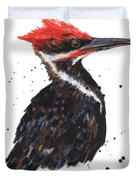Pileated Woodpecker Watercolor Duvet Cover by Alison Fennell