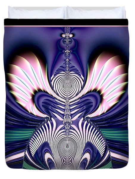 Pink And Blue Guardian Angel Fractal 99 Duvet Cover by Rose Santuci-Sofranko
