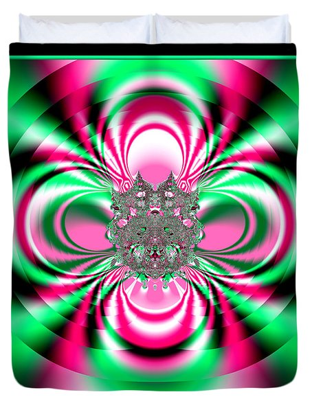 Pink And Green Rotating Flower Fractal 74 Duvet Cover by Rose Santuci-Sofranko