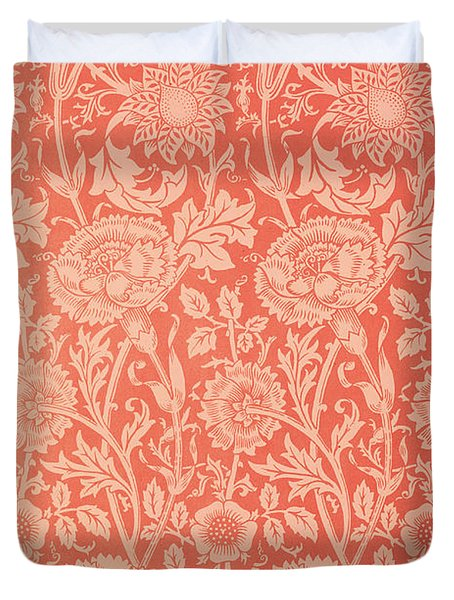 Pink And Rose Wallpaper Design Duvet Cover by William Morris