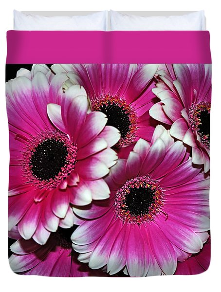 Pink And White Ornamental Gerberas Duvet Cover by Kaye Menner