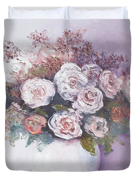 Pink and white roses Duvet Cover by Jan Matson