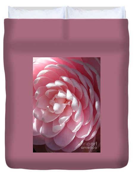 Pink Camellia Closeup Duvet Cover by Carol Groenen
