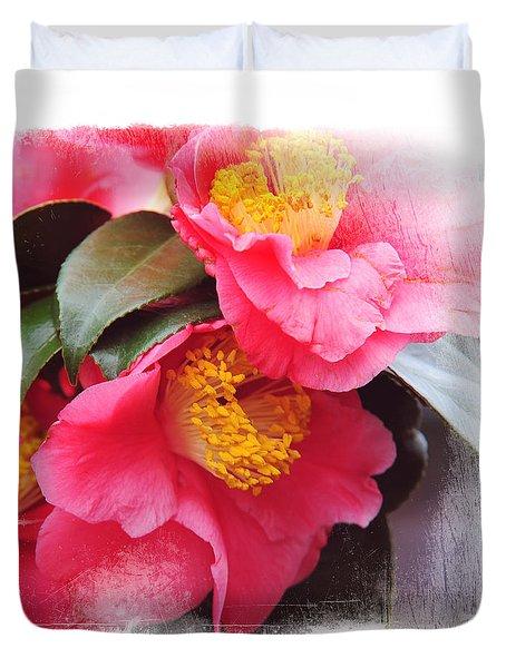Pink Camellia. Elegant Knickknacks Duvet Cover by Jenny Rainbow