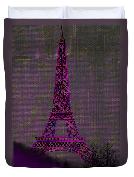 Pink Eiffel Tower Duvet Cover by Kate Farrant