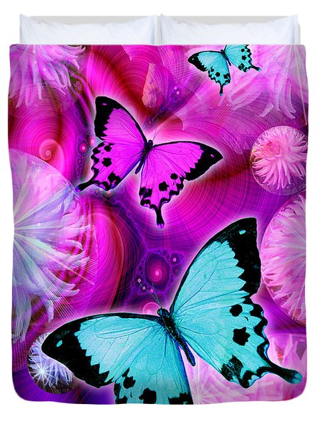 Pink Fantasy Flower Duvet Cover by Alixandra Mullins