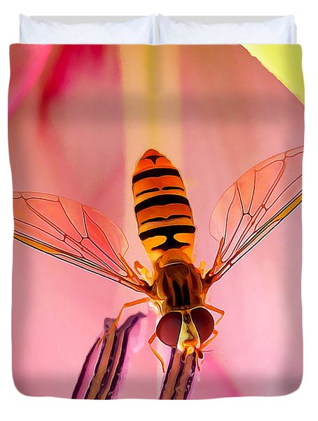 Pink Flower Fly Duvet Cover by Bill Caldwell -        ABeautifulSky Photography