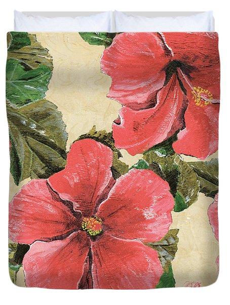 Pink Hibiscus Duvet Cover by Debbie DeWitt