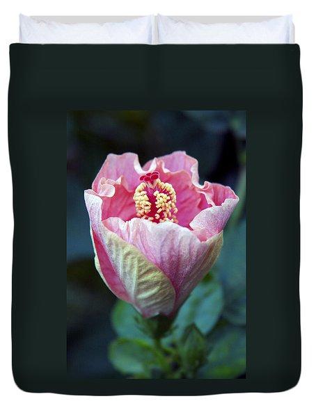 Pink Hibiscus Flower Bud Duvet Cover by Karon Melillo DeVega