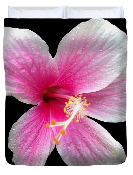Pink Hibiscus In The Rain Painted Duvet Cover by Cheryl Young
