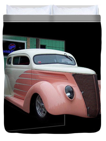 Pink Hot Rod 01 Duvet Cover by Thomas Woolworth