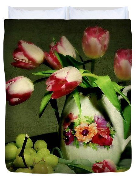 Pink in a Pitcher Duvet Cover by Diana Angstadt