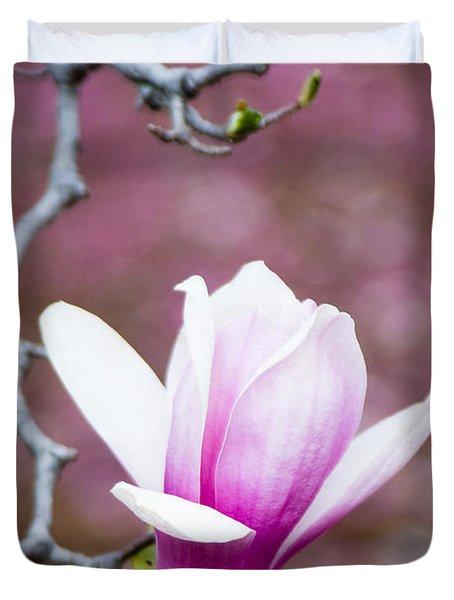 Pink magnolia flower Duvet Cover by Oscar Gutierrez