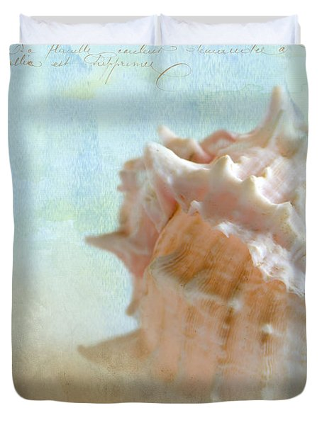 Pink Murex Seashell Duvet Cover by Betty LaRue