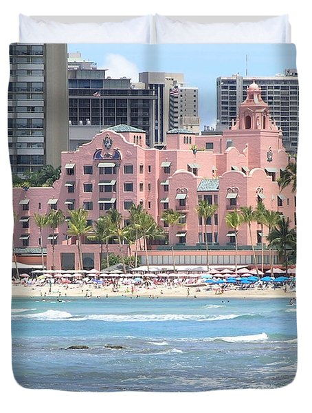 Pink Palace On Waikiki Beach Duvet Cover by Mary Deal