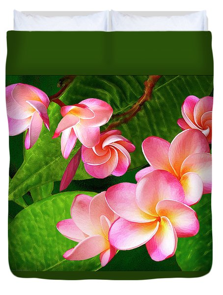 Pink Plumeria Duvet Cover by Ben and Raisa Gertsberg