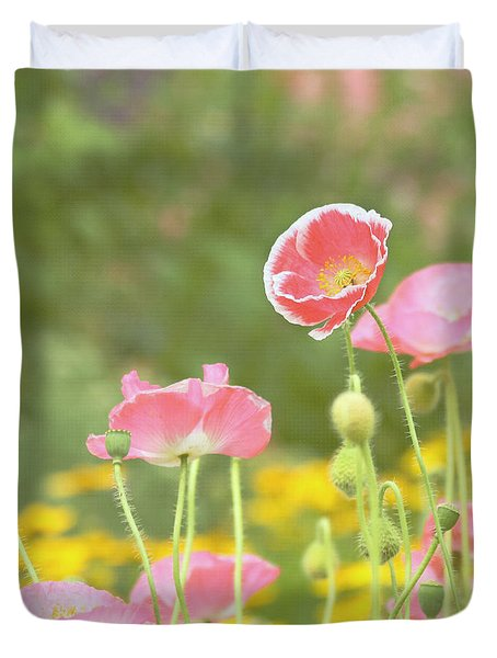 Pink Poppies Duvet Cover by Kim Hojnacki