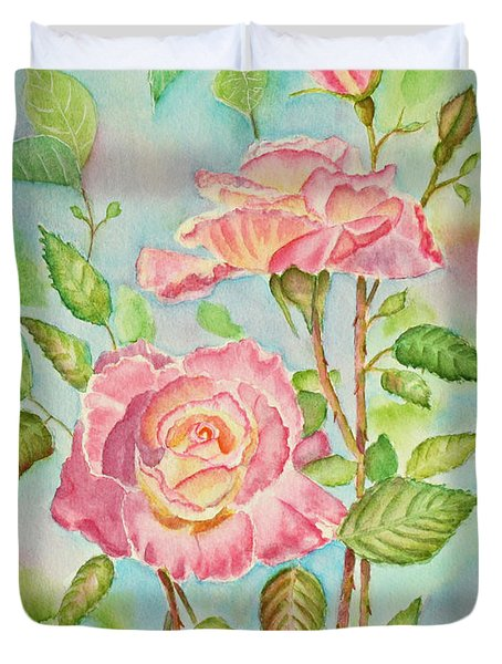 Pink Roses And Bud Duvet Cover by Kathryn Duncan