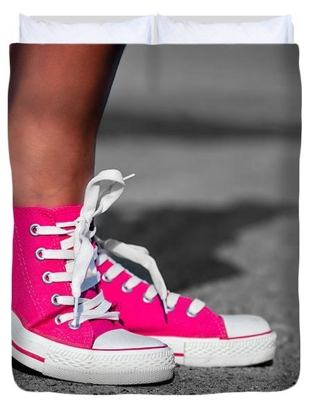 Pink sneakers  Duvet Cover by Michal Bednarek