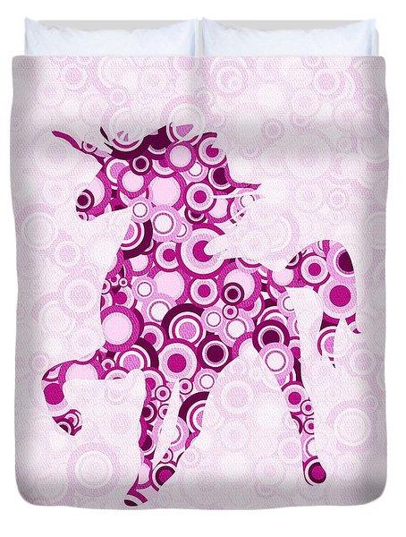 Pink Unicorn - Animal Art Duvet Cover by Anastasiya Malakhova